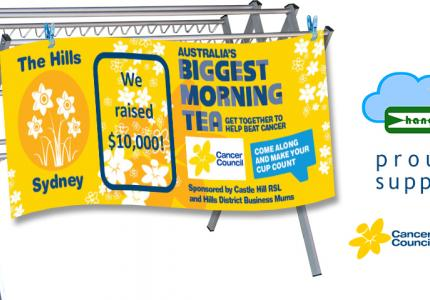 Hanging Stuff proudly supports the Cancer Council Australia's Biggest Morning Tea.