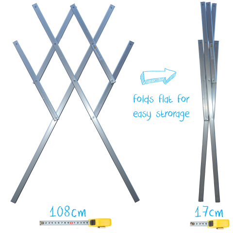 Maxi stainless steel clothes airer drying rack hooks
