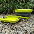 Collapsible foldable washing baskets green and grey